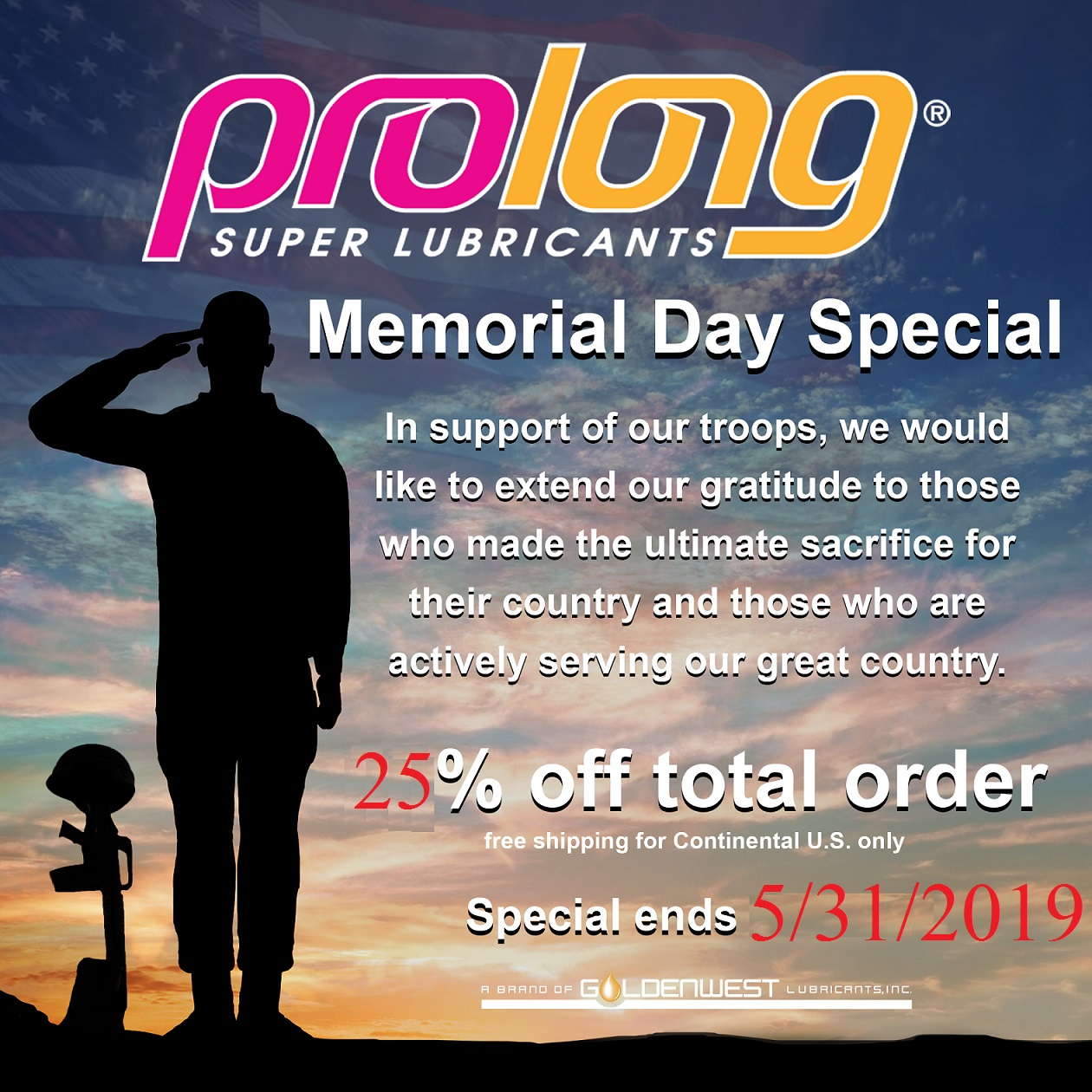 Memorial Day 25 Percent Off